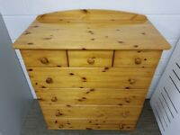 Pine Wood Chest of Drawers (7 Drawers) Good Condition