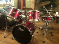 """9 piece drum kit. 21"""" bass. Pearl drums with seat and accessories"""
