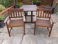 2 Solid Hardwood Carver Garden Chairs