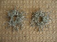 2 Silver Grey Beaded Wine Glass Stem Decorations Ring Hoop Bead Charms Christmas