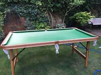 Snooker table with folding legs, cues, balls included