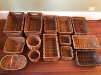 Job Lot Collection of Various Wicker Baskets Storage Floristry Shop Display Storage