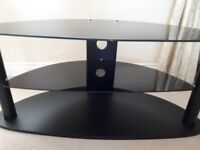 Black glass tv stand 3 tier W109cm D48cm H49cm