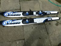 Pair of OBrien Waterskis and tow line - As new, only used once!