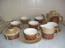 15 Piece Tea Set Made by Lord Nelson Pottery - Maracanda Design Undamaged