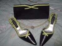NAVY SHOES SIZE 4 WITH MATCHING HANDBAG
