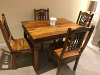 Dining table and chairs Indian wood