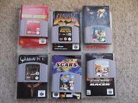 6 Nintendo 64 games & manuals - Quake, Doom, Dark Rift, SCARS, Star Wars Racer, Mission Impossible