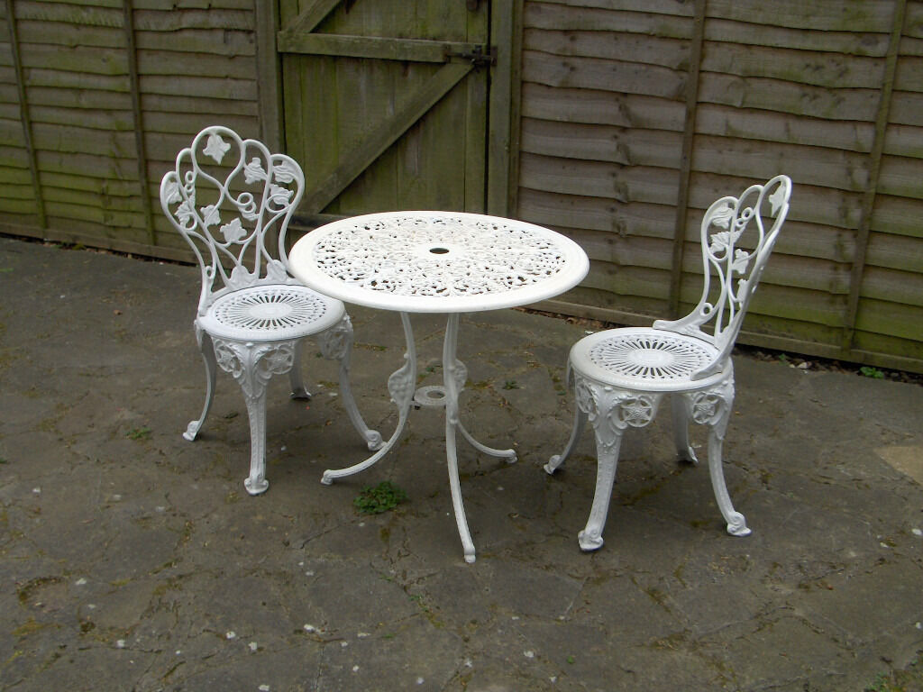 Patio Bistro Set Aluminium Cast Iron Table Chairs Garden