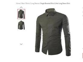 Men's Long Sleeve shirts x3 green/white/blue