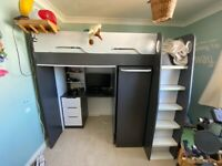 High sleeper bed with desk and storage