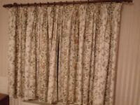 CREAM FLORAL CURTAINS (2 PAIRS AVAILABLE)