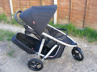 Black Phil & Teds Vibe Double Pram Buggy with Bumper, Extra Seat & Shopping Basket