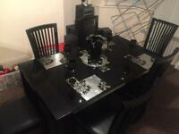Dining table with 6 chairs (part leather)