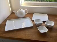 Job Lot White Ceramic Porcelain Tableware/Crockery - Tea Pot Plates Bowls