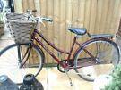 Ladies Vintage  burgundy raleigh chiltern 19 inch frame bike with basket and lock