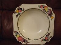 Devon Ware fruit bowl with three matching fruit dishes