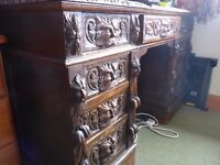 Antique Carved Victorian Writing desk