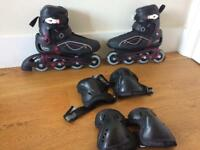Roller skates(size 6) & elbow/knee protectors
