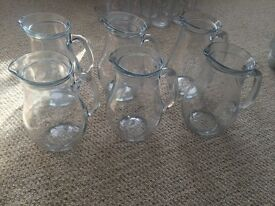 1 litre glass jugs x6- £4