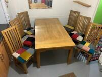 Table&chairs seats newly reupholster unique patchwork fire retardant fabric very solid condition