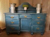 Shabby chic antique pine sideboard / dressing table / desk