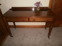 Antique Victorian Mahogany 2 Drawer Writing / Console Table on Castors