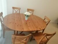 IKEA dining table with six chairs