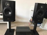 Tannoy speakers with stands and Technics amplifier