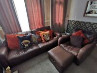 Brown leather Sofa, chair and stool