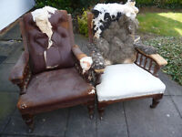 Matching Pair 1880's Victorian Waterer & Sons Mahogany Gentleman's Library Armchairs For Renovation.
