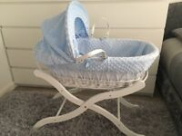 Clair de Lune white wicker Moses basket (blue) from smoke free and pet free home