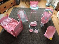 ELC Cupcake Baby Pram, High Chair, Baby Bouncer, Bunk Bed and Bath