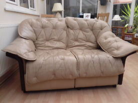 FREE - CREAM LEATHER SOFA, 2 SEATER WITH INTEGRAL FOOT REST. OLD BUT SOLID WITH NO LEATHYER TEARS