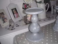 Grey painted candlestick