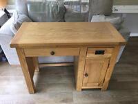 Solid oak desk & stool
