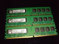 6Gb kingston ddr2 800 memory (3x2Gb sticks)