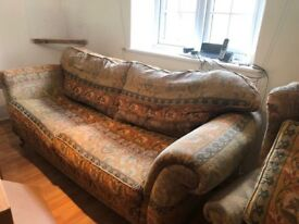 Large second hand sofa in good condition, with two matching armchairs for sale.