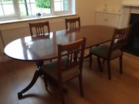 Dining table and four chairs.
