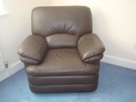 Leather recliner chair (chocolate brown)
