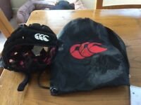 Rugby helmet with bag