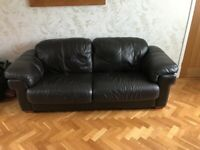 Used Brown leather sofa, chair & footstool