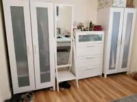 White IKEA furniture set cupboard wardrobe mirror chest of drawers