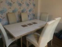 Granite and marble table 6 cream chairs 170x100 excellent condition bought from housing units