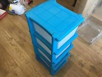 HOME 4 Drawer Plastic Storage Tower - Blue