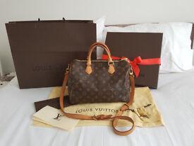 100% Genuine Louis Vuitton Speedy 30 Monogram Bandouliere With Receipt, Box, Dustbag