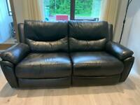 Black leather recliner with arm chair **as new**