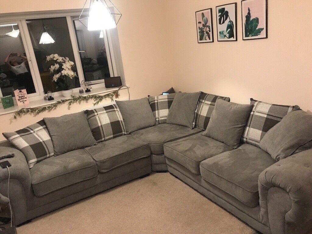 Large Grey Chesterfield Style Corner Sofa In Watford Hertfordshire