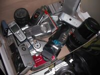 Box of broken cameras/ bits and mobile phones - if of any use please come and take away!