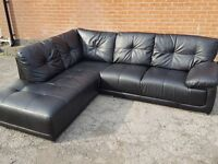 Comfy large black leather corner sofa, 1 month old. clean and tidy. can deliver
